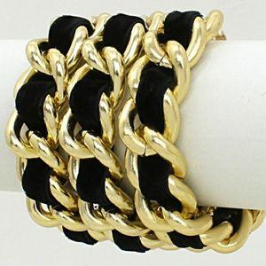 Gold and Black Suede Link Statement Bracelet
